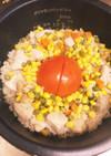 丸ごとトマトとチキンの炊き込みご飯