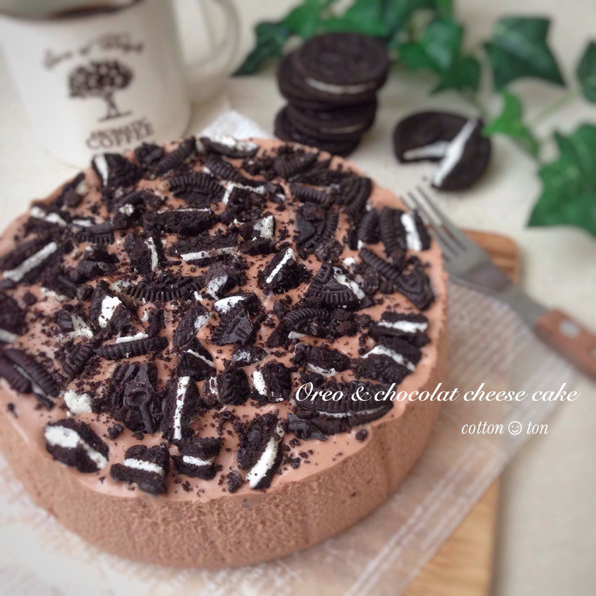 混ぜるだけ♡オレオチョコレアチーズケーキ
