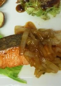 鮭と玉ねぎのバター醤油♪