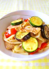 醤油麹で簡単☆たっぷり夏野菜の焼うどん