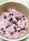 黒千石のピンク・パープル豆ご飯。