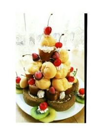 ロールケーキとプチシュー簡単ケーキタワー