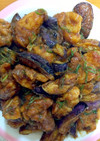 簡単な鶏肉と茄子の甘酢味噌炒め