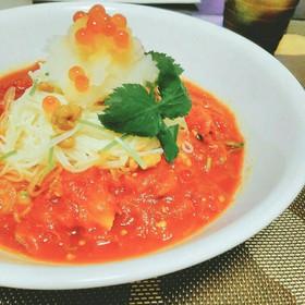 トマトと納豆の冷製素麺(うどん、パスタ)