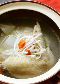 液体塩こうじと手羽先で参鶏湯風スープ☆