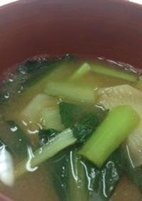 じゃがいもと小松菜のお味噌汁