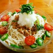 夏のネバネバ冷やし素麺☆納豆おろし添えの写真