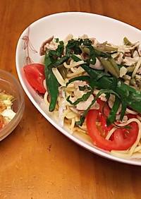 ジュンサイとトマトの冷製パスタ
