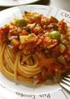 トマト缶で簡単♪夏野菜たっぷりパスタ
