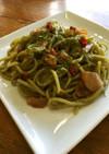 ☆ほうれん草麺のペペロンチーノ