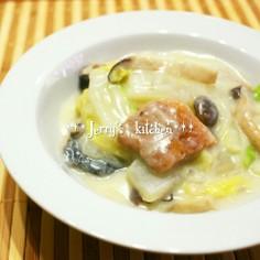 豆乳de白菜と鮭のクリーム煮