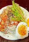 ヘルシー納豆トマト冷製味噌豆乳スープ蕎麦