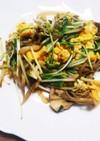 水菜×舞茸×卵 ごま油ピリ辛炒め