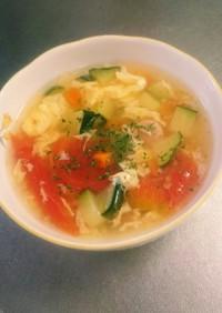 ズッキーニとトマトの彩りスープ