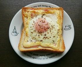 半熟目玉焼きベーコンマヨネーズトースト♡