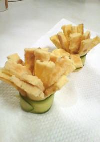 お弁当に☆玉子焼と胡瓜のクルクルフラワー