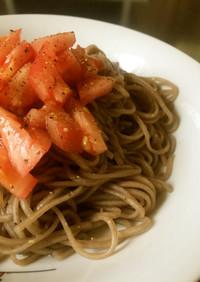 【腎臓病】低たんぱく蕎麦でトマト蕎麦