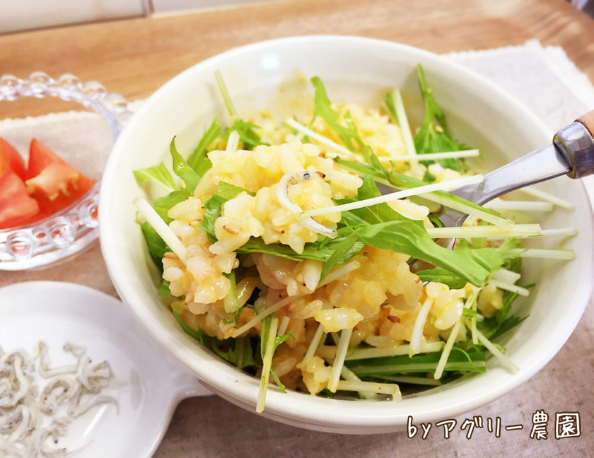 水菜のせ♪豆腐とじゃこのヘルシー卵ご飯!