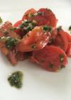 トマトの自家製バジルソース和え