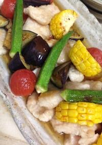 やわらか鶏胸肉と夏野菜の焼き浸し