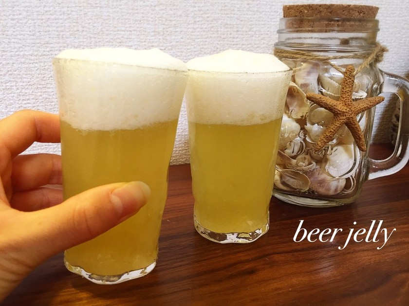 子供と乾杯☆材料2つで簡単ビールゼリー♡
