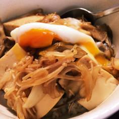 豆腐とキノコの甘辛丼