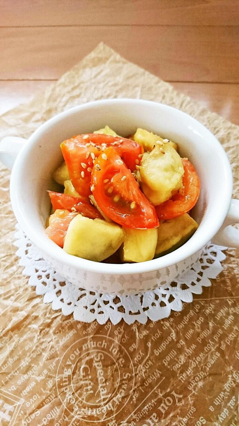 レンジで簡単☆ナスとトマトの中華マリネ。