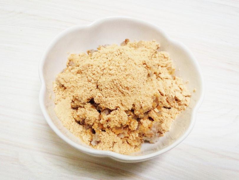 大麦(もち麦・押し麦)の胡麻&きなこ掛け