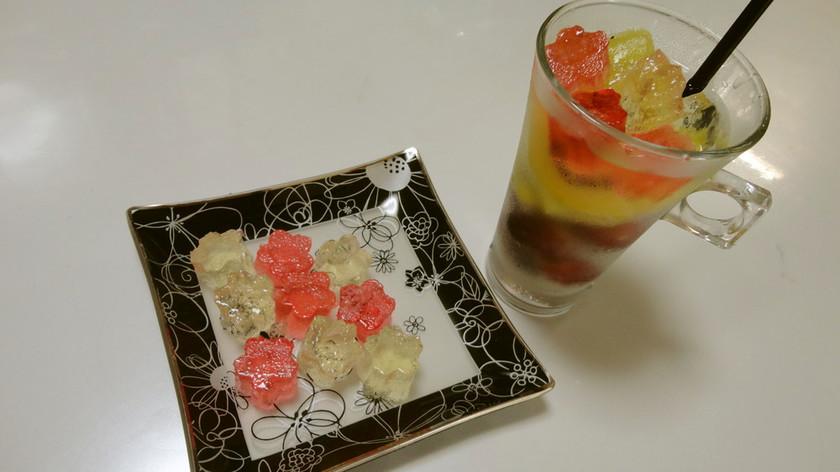 凍らせ果実のソルティライチ琥珀糖添え