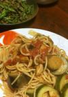 パンチェッタと夏野菜のトマトハーブパスタ