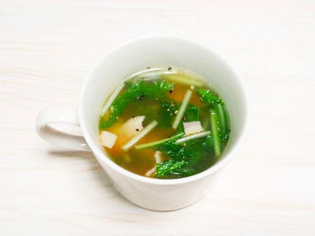 もち麦(大麦)と水菜とベーコンのスープ
