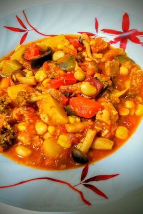 低糖質☆鶏肉といろいろ野菜のトマト煮込み