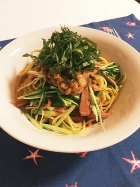 納豆と水菜のパスタ