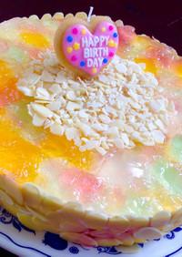ゼリーとレアチーズのカラフルケーキ