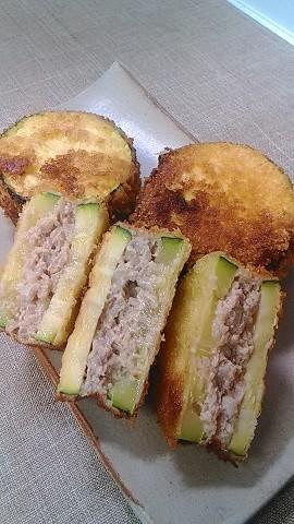 ズッキーニのひき肉サンドフライ♪