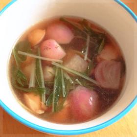 ラディッシュと水菜のコンソメスープ