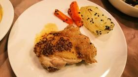 マスタードソースで頂く鶏モモ肉のソテー♪