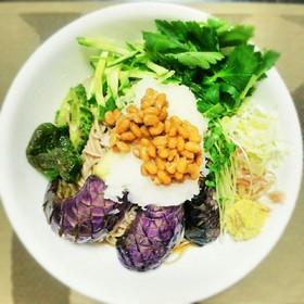 揚げ野菜と納豆のお蕎麦(素麺/うどん)