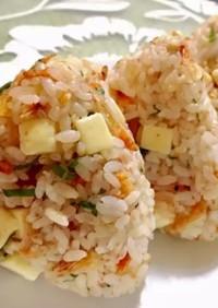 桜海老チーズ大葉おかかの混ぜご飯