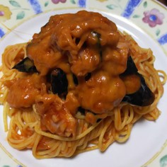 茄子とベーコンのトマトパスタ(チーズ入り