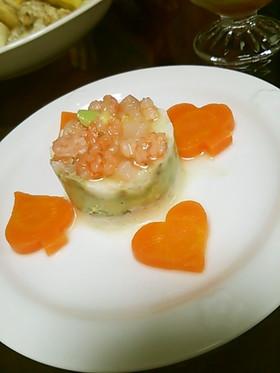 アボカド×ポテトのセルクルサラダ