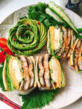 鰻の蒲焼とチーズ卵で低糖質高野豆腐サンド