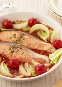 フライパンで簡単!塩鮭のトマトパッツァ