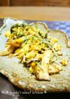 水菜とエリンギ、たまごのマヨネーズ炒め