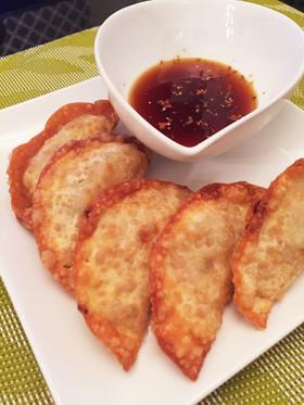 鶏挽肉と納豆の揚げ餃子