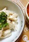 簡単蒸し鶏*トマトピリ辛ソース