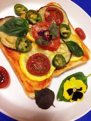 イタリアナス丸ズッキーニのピザ風トーストの写真