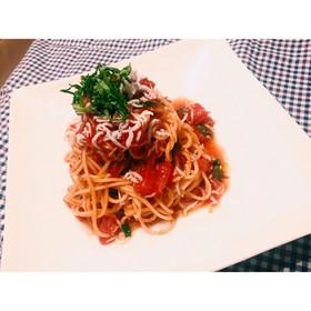 【簡単】混ぜる!しらすトマト冷製パスタ