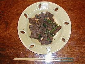 春菊と牛肉の炒め物