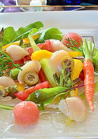 霜降りホタテと野菜をタラコソースで♪